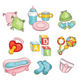 set of baby things vector image vector image