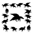 set pegasus silhouette vector image vector image