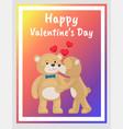 teddy bears couple female kisses male in cheek vector image vector image
