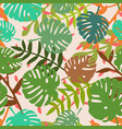 tile tropical pattern with exotic leaves on pink vector image