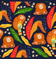 tropical leaves seamless pattern with monkey vector image