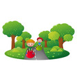 two boys playing on big ball on the road vector image vector image