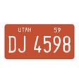 Utah 1959 license plate vector image vector image
