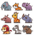 wild animals cartoons set vector image