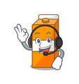 with headphone package juice mascot cartoon vector image