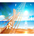 Woman Lying in a Hammock on the Beach vector image vector image