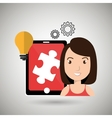 woman teamwork isolated icon design vector image
