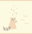 Card with a cute raccoon in love vector image