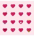 heart emoticons collection Cute emoji set vector image