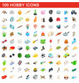 100 hobby icons set isometric 3d style vector image vector image