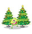 A monster dancing in front of the christmas trees vector image vector image