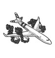 airplane crash sketch engraving vector image vector image