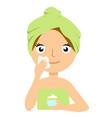 beautiful young woman applying facial mask spa vector image