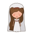 bride with dress and veil vector image