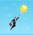 businessman flying on light bulb in the sky vector image