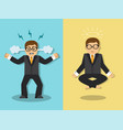 businessman is angry and meditates vector image vector image