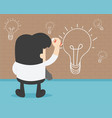 businessman is writing his thoughts on the wall vector image
