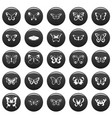 butterfly icons set vetor black vector image vector image