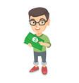 caucasian boy in glasses holding money in hands vector image vector image