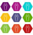 coffin icon set color hexahedron vector image vector image