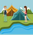 couple with smartphones in the camping zone vector image vector image
