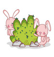 cute bunnies playing in forest vector image