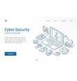 cyber security modern isometric line vector image vector image