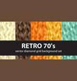 diamond pattern set retro 70s seamless vector image