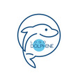 dolphine logo nautical design element in blue vector image vector image