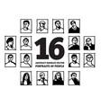 doodles people portraits avatars faces black vector image