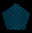 filled pentagon mosaic icon of halftone circles vector image vector image
