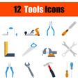 Flat design tools icon set vector image vector image