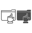 folder with arm line and glyph icon hand on vector image vector image