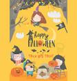funny children wearing in halloween costumes vector image vector image
