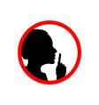 girl face profile with hand shhh forbidden icon vector image vector image