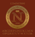 golden ornate letters and numbers with monogram vector image vector image