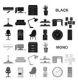 interior of the workplace black icons in set vector image vector image