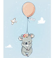 little koala with balloon vector image vector image