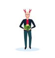 man holding gift box wearing deer costume happy vector image