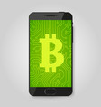 mobile phone with bitcoin sign crypto payment vector image vector image