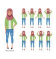 muslim young woman wearing hijab set emotions vector image vector image