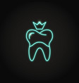neon dental crown icon in line style vector image