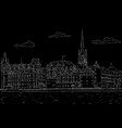 old city of stockholm lake view black outline vector image