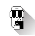 online shopping with smart phone icon on white vector image vector image