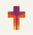 palm sunday cross isolated on a light background vector image