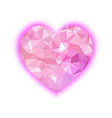 pink polygon heart isolated on a white background vector image