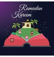 Ramadan greeting cards kids and mosque with starry vector image vector image