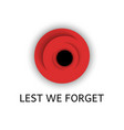 red poppy flower with text lest we forget vector image vector image