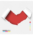 red torn off paper heart shape hole on transparent vector image