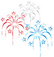 red white and blue stylized fireworks vector image vector image